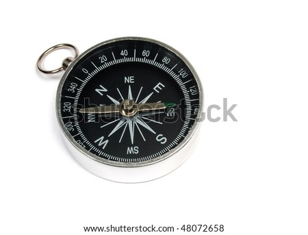 Compass against isolated white background. - stock photo