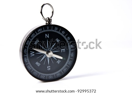 Compass against isolated white background with soft shadow. - stock photo