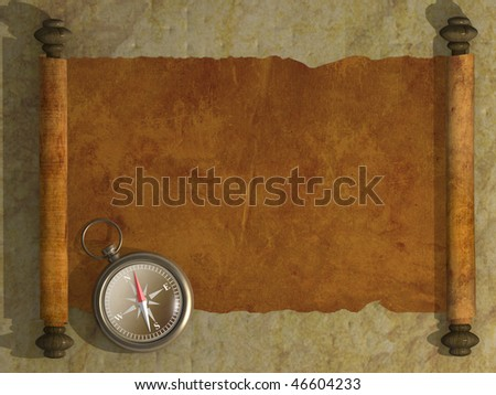 Compass and antique scroll - stock photo