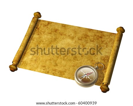 Compass and antique scroll - isolated over white - stock photo