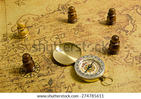 Compass and Chess on old map