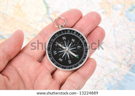 Compass and map close up shot - stock photo