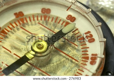 compass and old map - stock photo