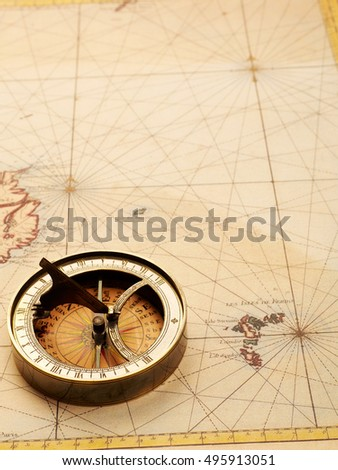 Compass and old map from XVIII century