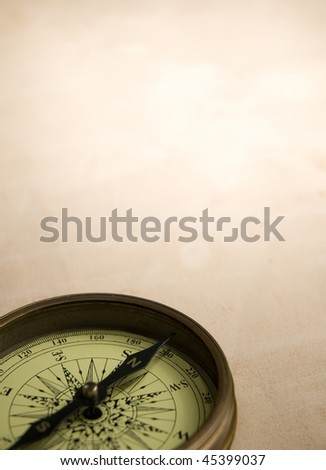 compass and old paper - stock photo