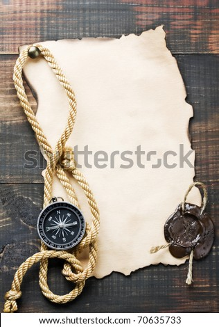 compass and sea accessories - stock photo