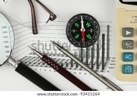 compass and working paper with  diagram - stock photo