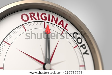 Compass arrow pointing to the original word - stock photo