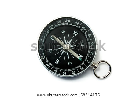 Compass Black with Green Symbols on Dial Isolated on White Backround - stock photo
