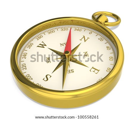 Compass. Brass Compass on white background. - stock photo