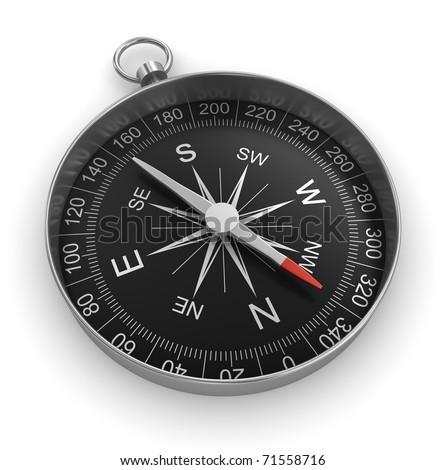 compass chrome on white background - stock photo
