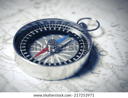 Compass. 3D Scene. - stock photo