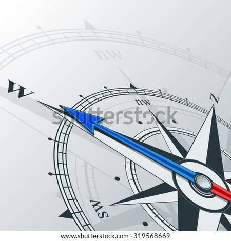 Compass direction west. Compass with wind rose, the arrow points to the west. Illustrations can be used as background. Compass background. Compass arrows direction west. Geographical background.