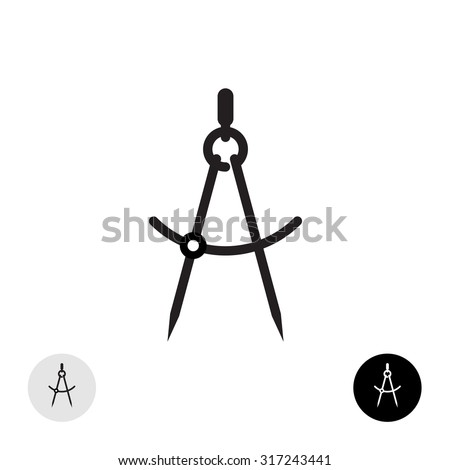Compass divider black silhouette. Simple calipers icon. - stock photo