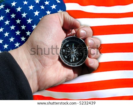 Compass geographical in hand, cartography, cartographical tools on American flag - stock photo