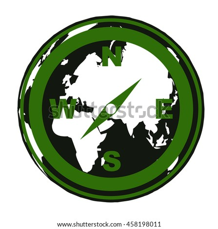 compass icon and world map - stock photo