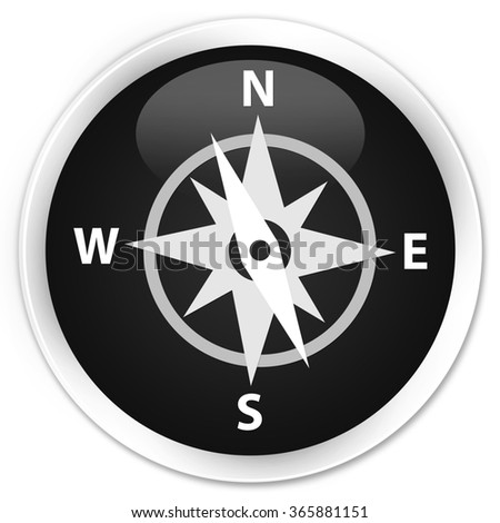 Compass icon black glossy round button