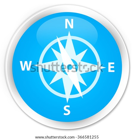 Compass icon cyan blue glossy round button
