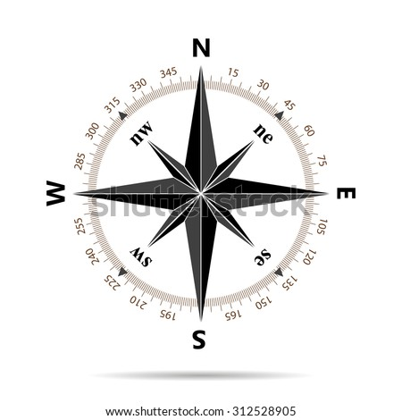 Compass icon in flat design - stock photo