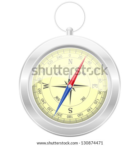 compass illustration isolated on white background - stock photo