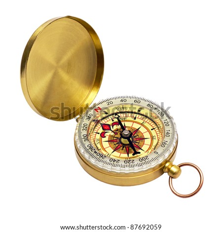 compass in a brass case isolated on white background