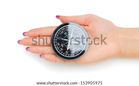 Compass in a hand. On a white background. - stock photo