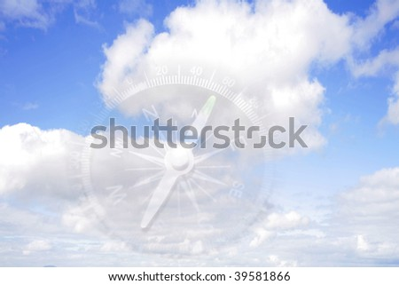 Compass in blue sky