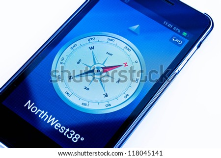 compass in smart-phone - stock photo