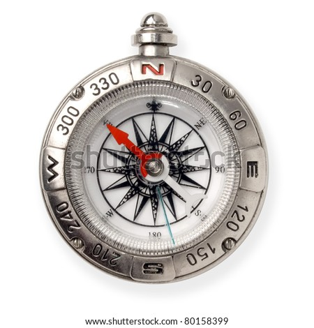 Compass isolated on white background. - stock photo