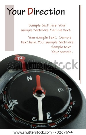 Compass isolated on white background with sample text. Clipping path included.