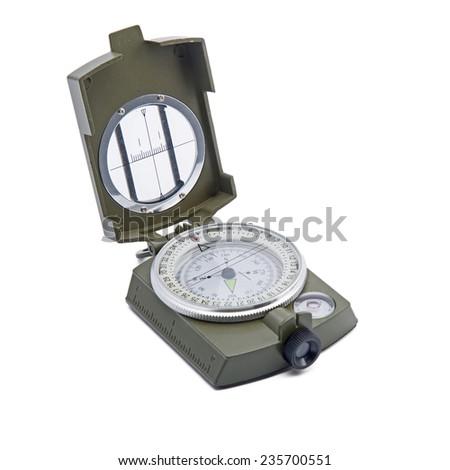 Compass isolation on white - stock photo
