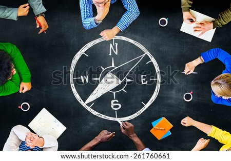 Compass Longitude Latitude Navigation Direction Adventure Concept - stock photo