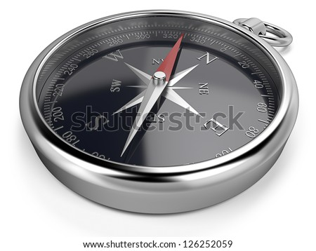 Compass. Metal compass, black dial. - stock photo