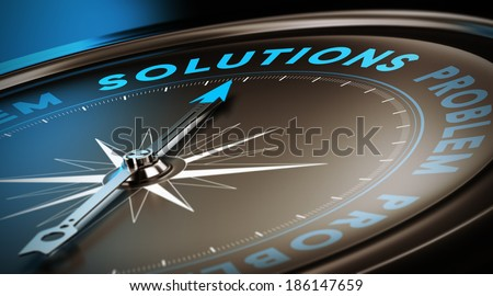 Compass needle pointing the word solutions. Dark brown, blue and black background with focus on the main word. Concept 3D image for illustration of business support service or advice.  - stock photo
