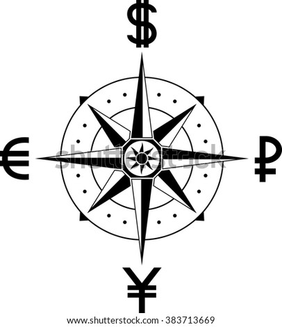 compass of currencies - stock photo