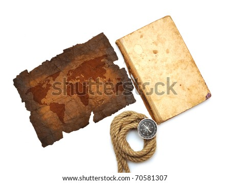 compass, old book, rope and map on white - stock photo