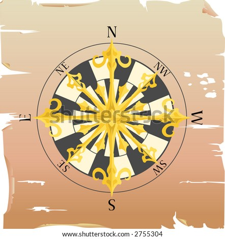 compass on a piece of paper, raster version - stock photo