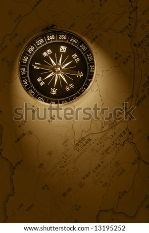 compass on map - stock photo