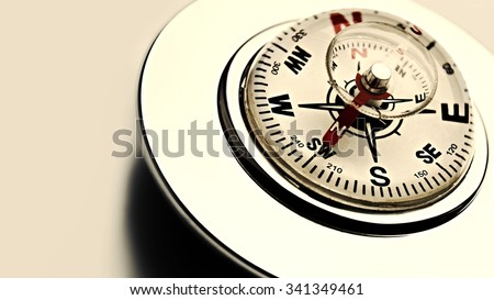 Compass on the white background. Grunge - stock photo