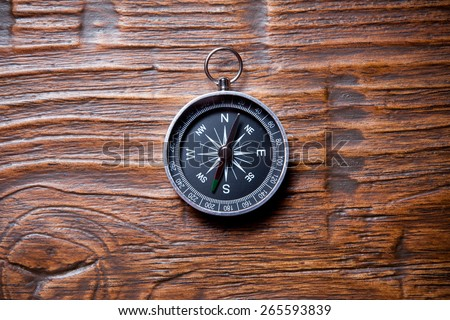 compass on wooden background with space for text - stock photo