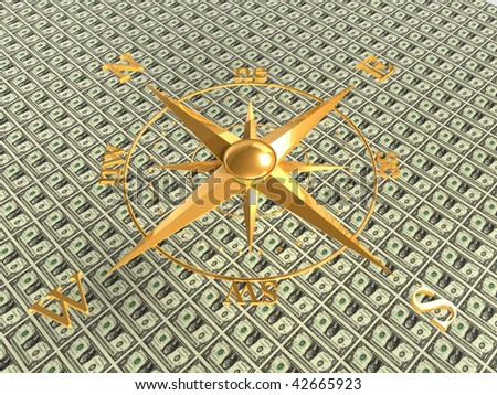 compass over dollar bills background - 3d rendering - stock photo