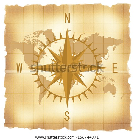 Compass over vintage world map - stock photo