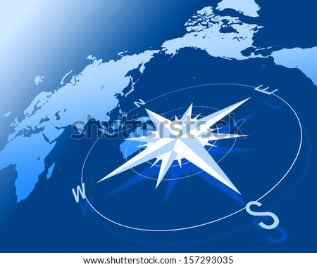 Compass over world map - stock photo