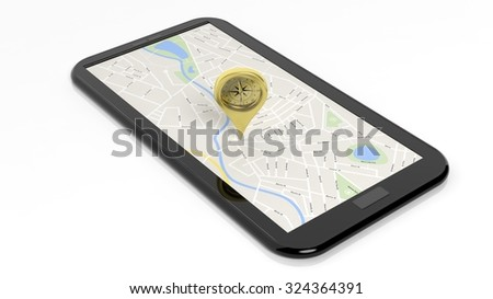 Compass pointer on tablet screen with map, isolated on white background. - stock photo