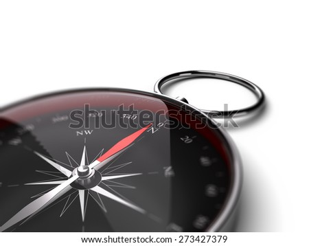 Compass pointing the north over white background suitable for bottom left angle of a page. Black dial and red needle - stock photo