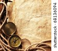 Compass, rope, paper, chain on wooden board - stock photo