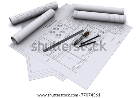 compass, ruler and pencil on architectural drawings - stock photo