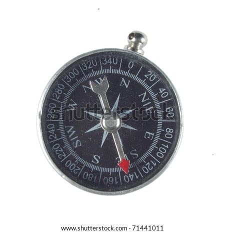 compass silver. isolated on white background - stock photo