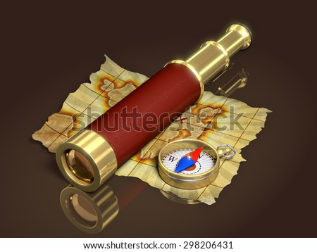 Compass, spyglass and old map, 3d illustration - stock photo