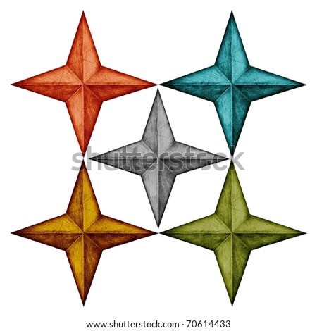 compass stars drawings in five colors - stock photo